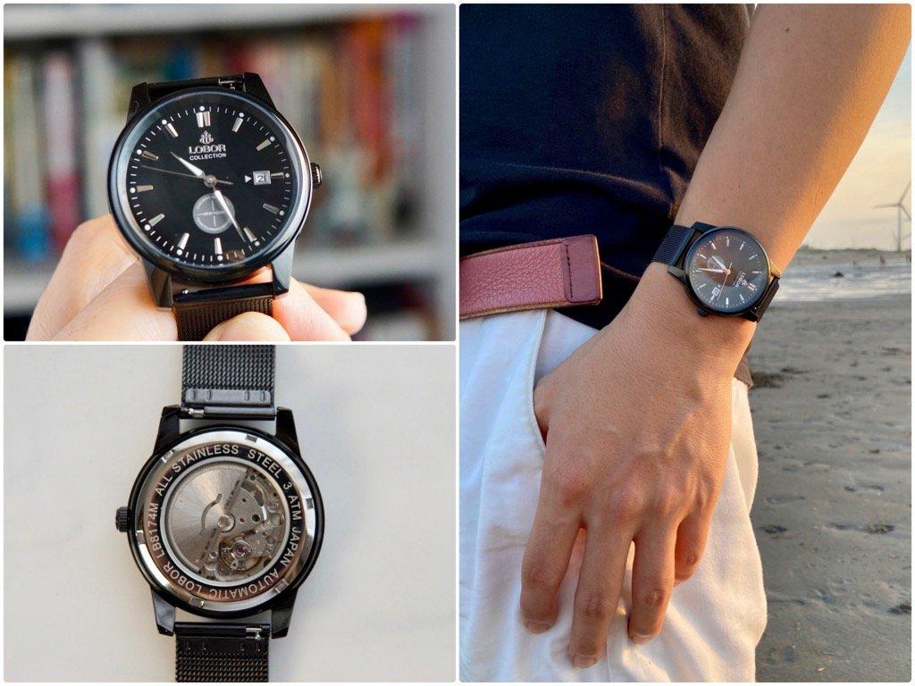 質感男錶推薦|LOBOR黑色機械錶-穿戴出不凡質感