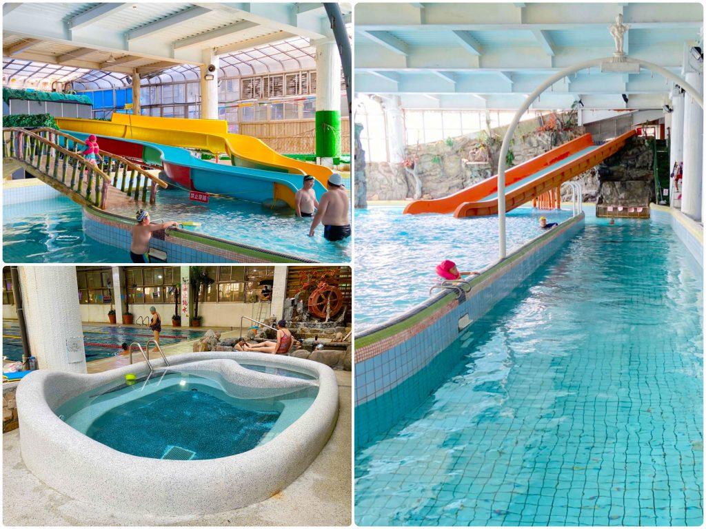 平鎮室內溫水游泳池|兒童戲水池.漂漂河.人造浪.滑水道都有!SPA按摩池、冷熱池、50公尺長泳池|彷彿進入時光隧道般的童年記憶